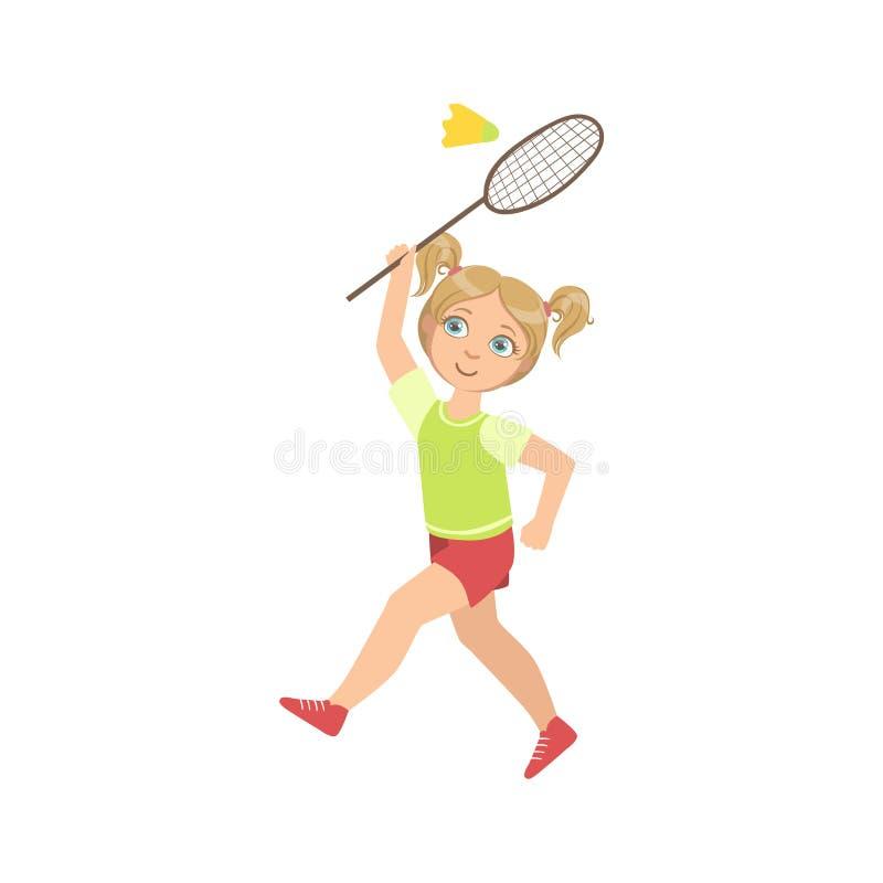 Menina que joga o badminton com peteca e raquete ilustração stock