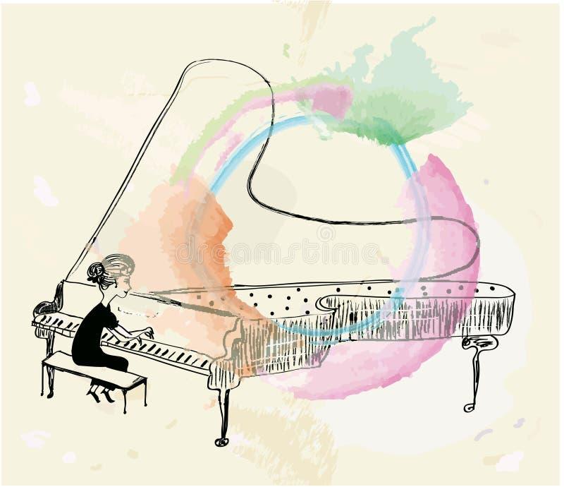 Menina que joga o esboço do piano ilustração do vetor
