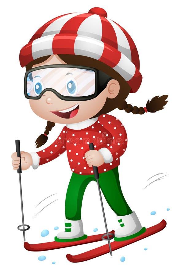 Menina que joga o esqui ilustração royalty free
