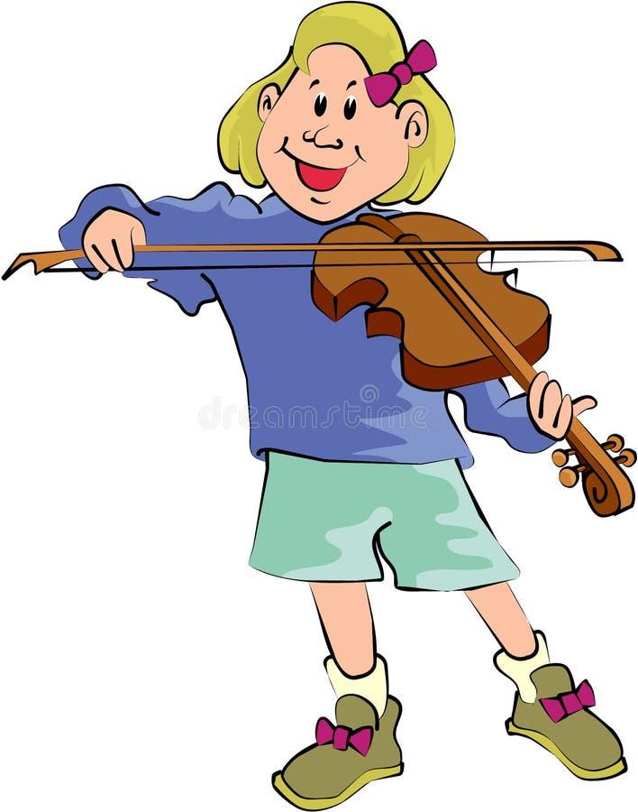Menina que joga o violino ilustração royalty free