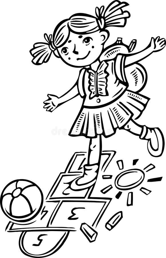 Menina que joga o hopscotch. Crianças. ilustração royalty free