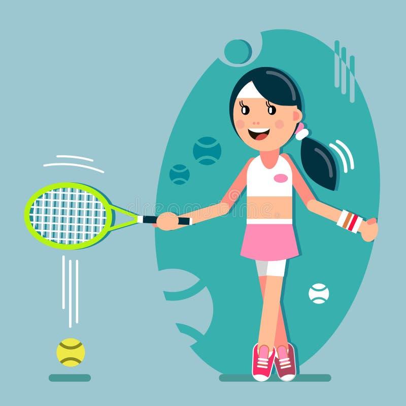 Menina que joga o tênis ilustração stock