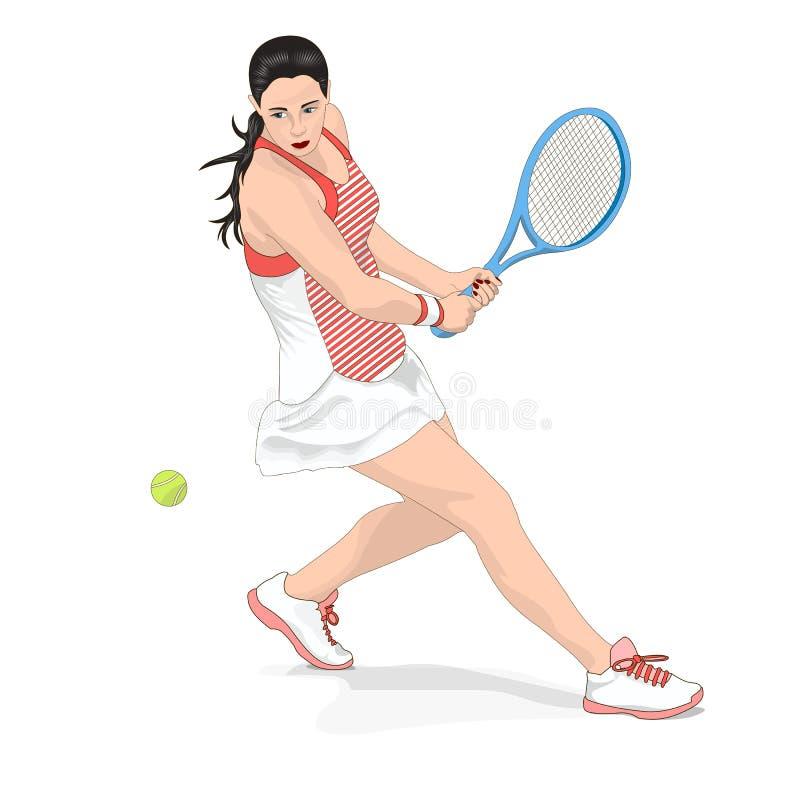 Menina que joga o tênis Imagem do vetor no fundo branco ilustração stock