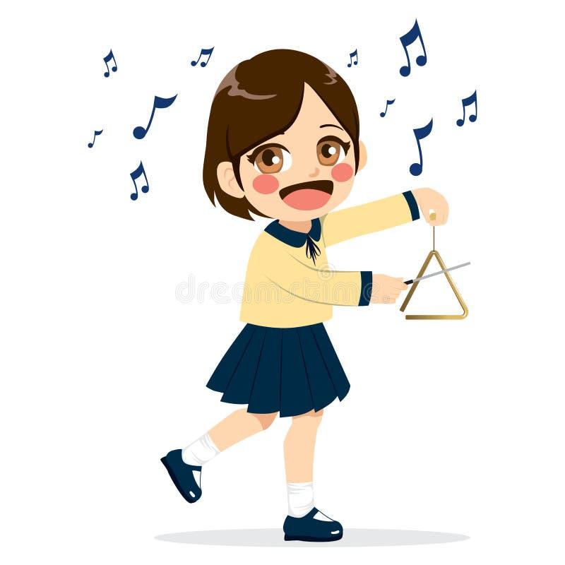 Menina que joga o triângulo ilustração royalty free