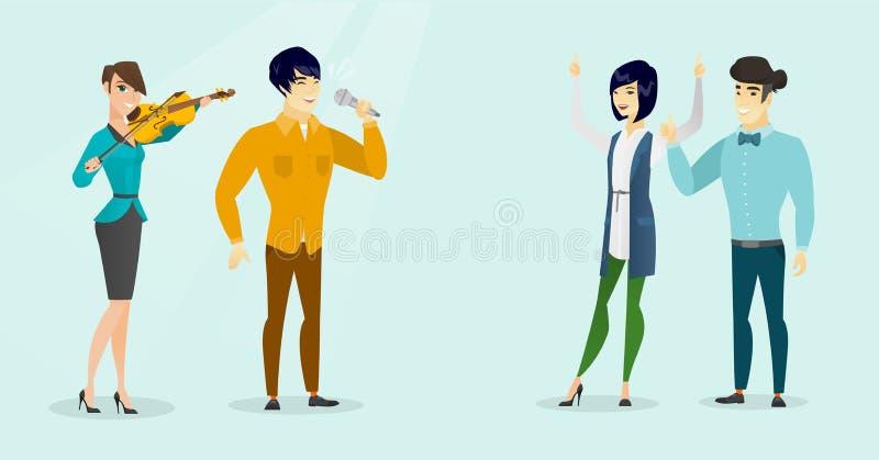 Menina que joga o violino e o homem que cantam ao mic ilustração stock