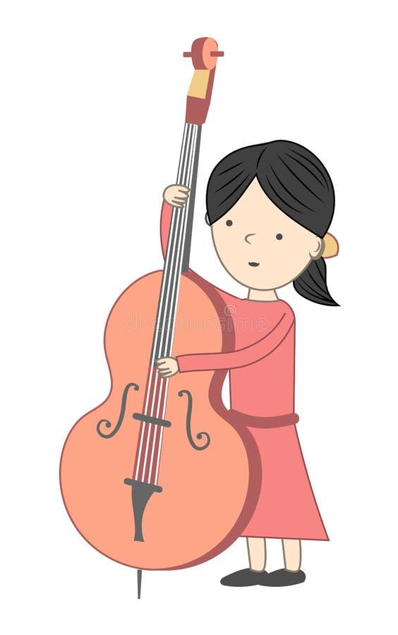 Menina que joga o violoncelo isolado no fundo branco ilustração do vetor