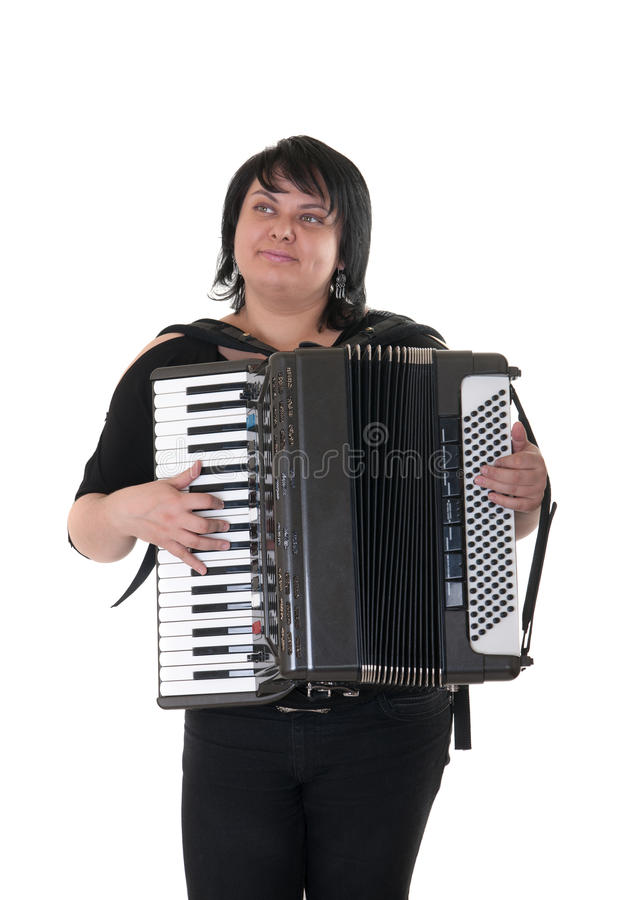 Menina que joga um acordeão imagem de stock