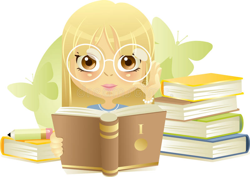Menina que lê o livro ilustração do vetor