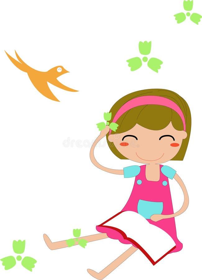 Menina que lê um livro ilustração royalty free