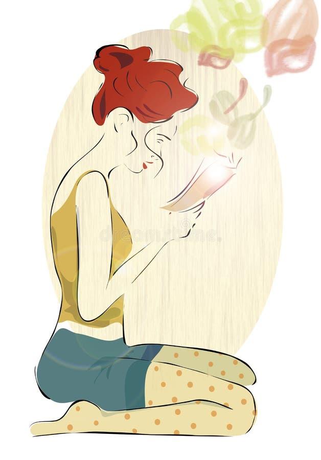 Menina que lê um livro ilustração do vetor