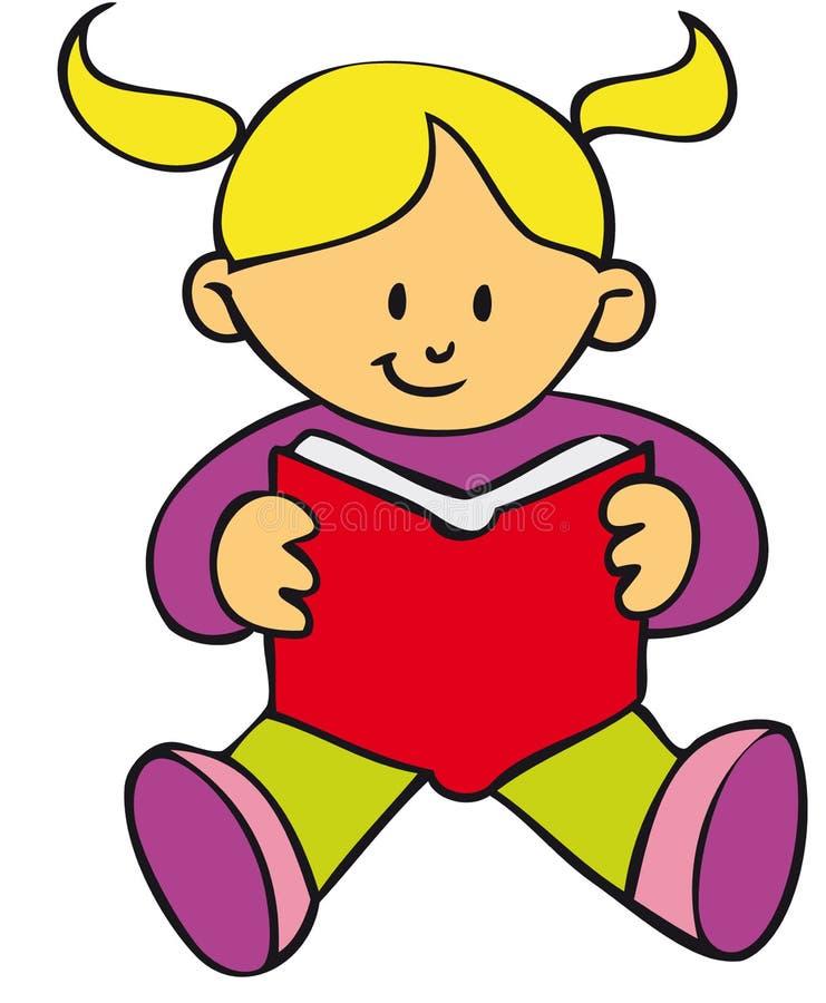 Menina que lê um livro ilustração stock