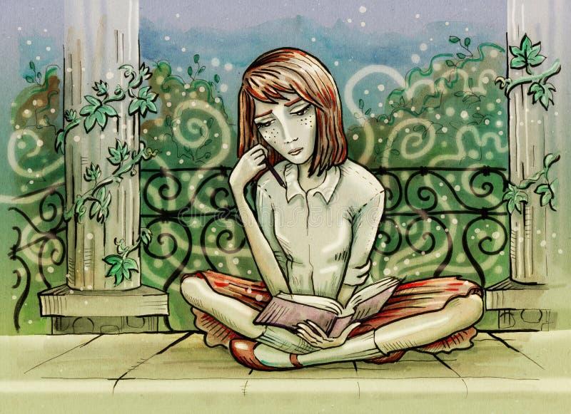 Menina que lê um livro Assento no pavilhão antigo no parque ilustração do vetor