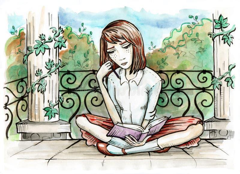 Menina que lê um livro Assento no pavilhão antigo no parque ilustração stock