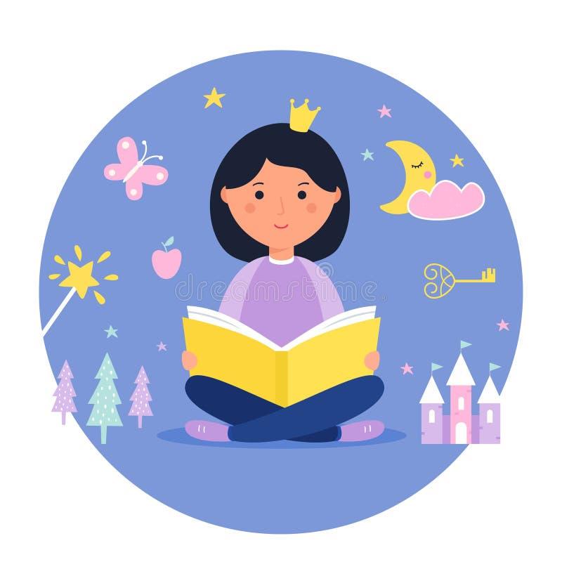 Menina que lê um livro Conceito da fantasia e do conto de fadas Projeto do vetor ilustração stock
