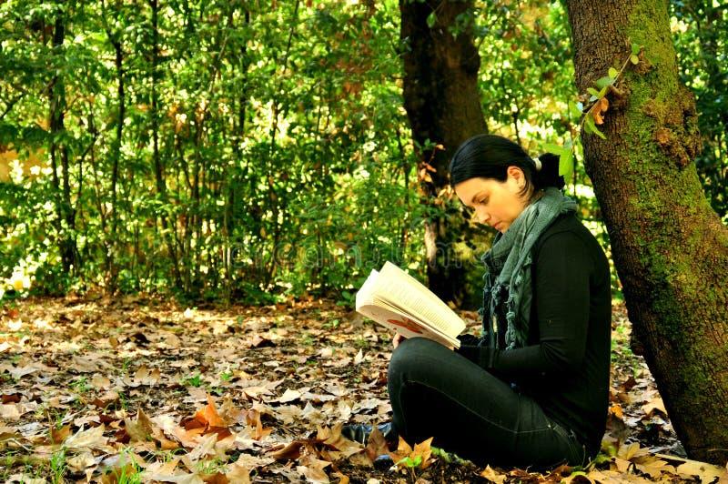 Menina que lê um livro em um parque fotos de stock royalty free