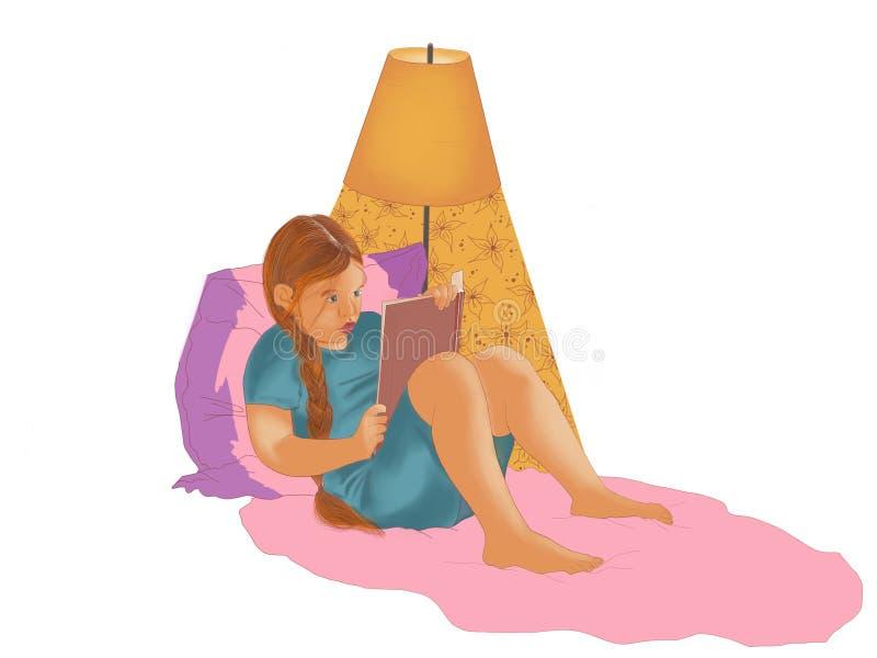 Menina que lê um livro na cama e que sonha à vista de uma lâmpada de assoalho ilustração do vetor