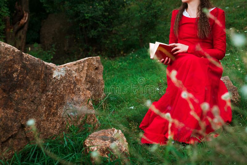 Menina que lê um livro no parque foto de stock