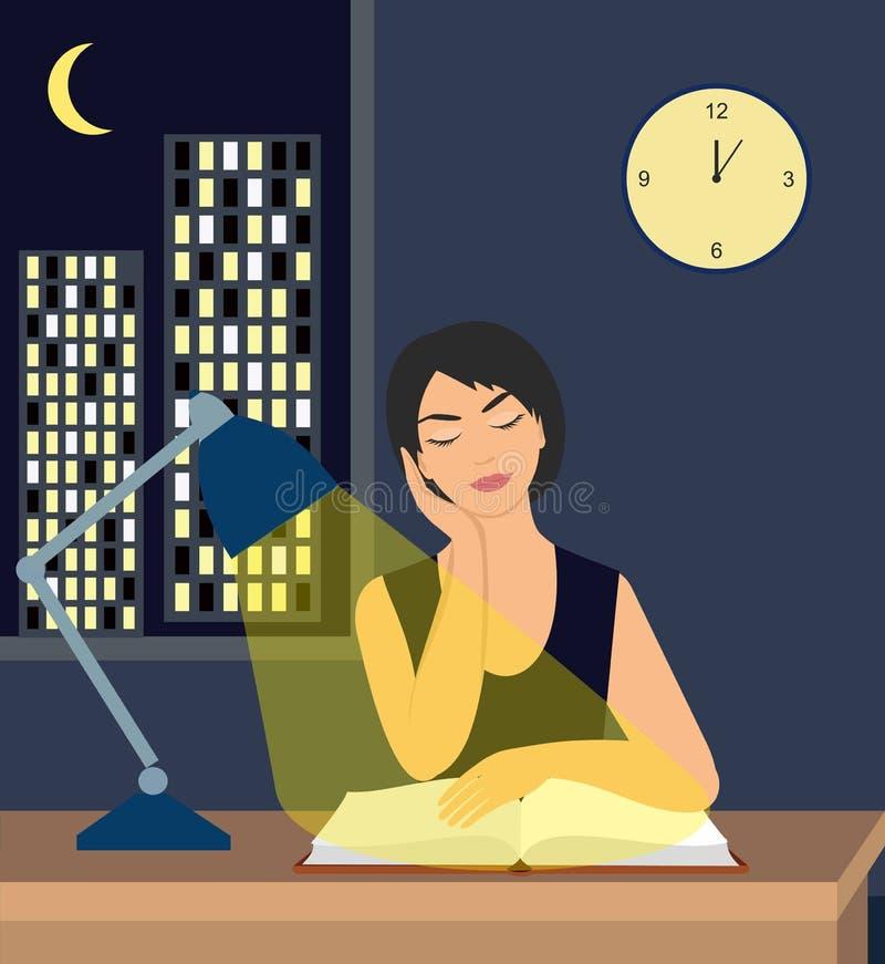 Menina que lê um livro sob um candeeiro de mesa na tabela contra o contexto da cidade na noite ilustração do vetor