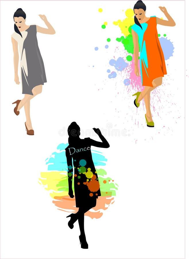 menina que levanta com uma pintura à pistola curvada do pé ilustração stock