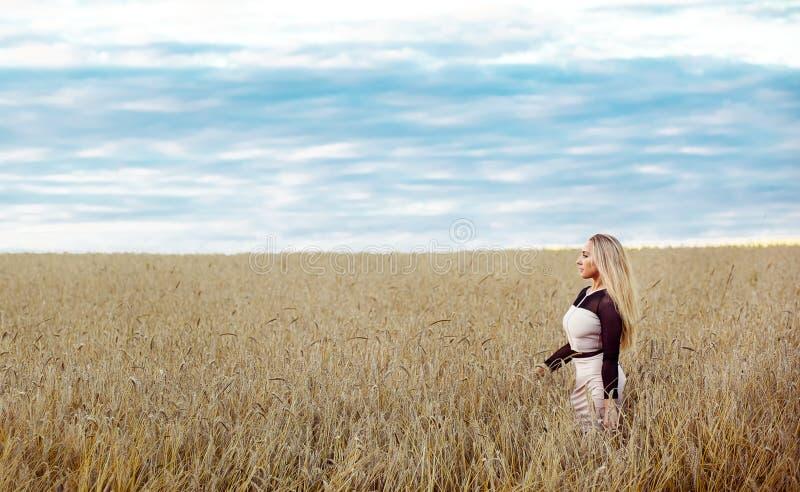 Menina que levanta em um campo no por do sol foto de stock