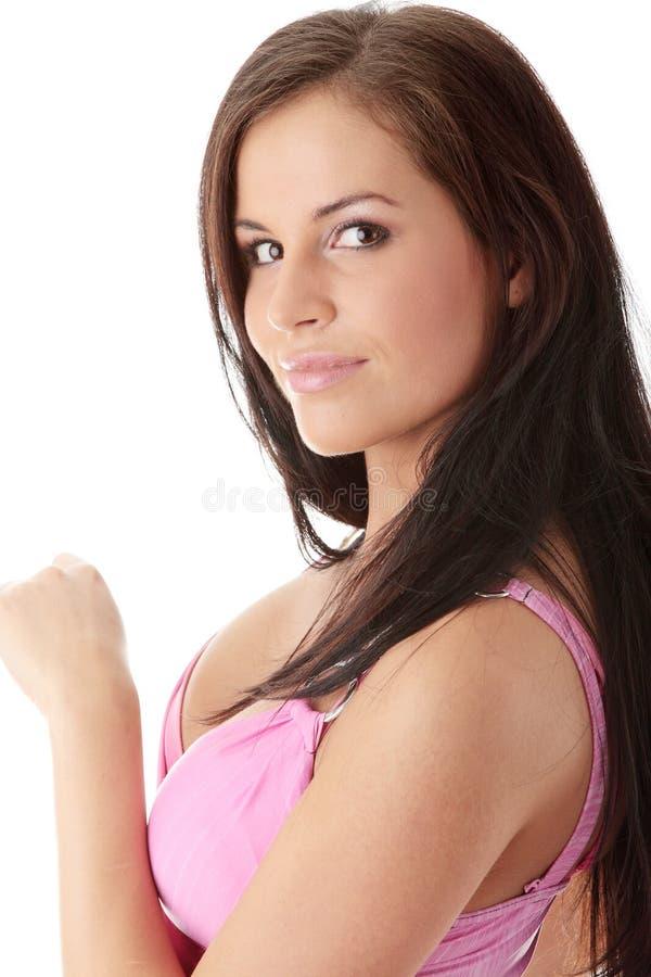 Menina que levanta no vestido do sibilo fotografia de stock royalty free