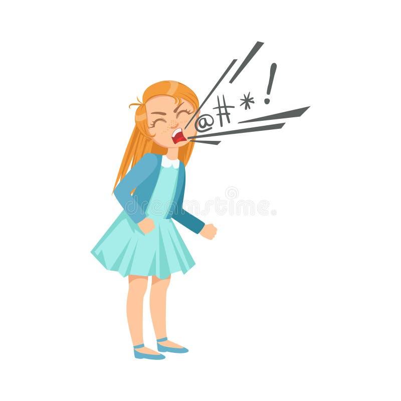 Menina que maldiz a intimidação adolescente que demonstra a ilustração incontrolável perniciosa dos desenhos animados do comporta ilustração royalty free