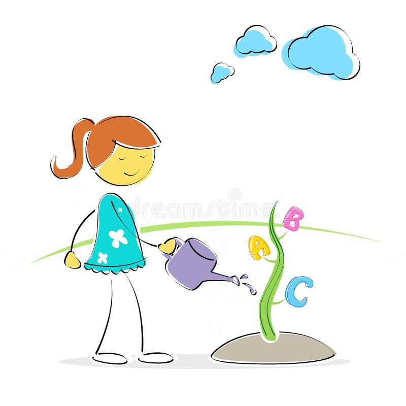 Menina que molha a planta do ABC ilustração do vetor