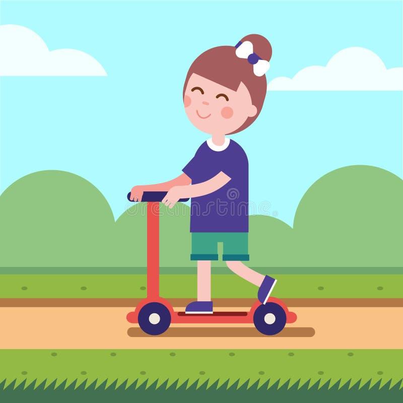 Menina que monta seu 'trotinette' do pontapé em uma estrada do parque ilustração royalty free