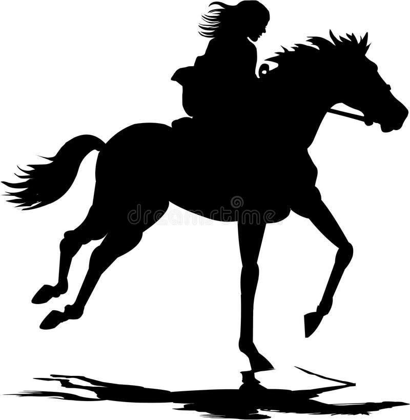 Menina que monta um cavalo ilustração do vetor