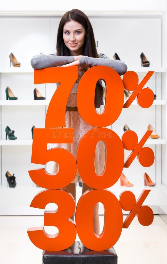 A menina que mostra a porcentagem das vendas na elevação colocou saltos sapatas fotos de stock