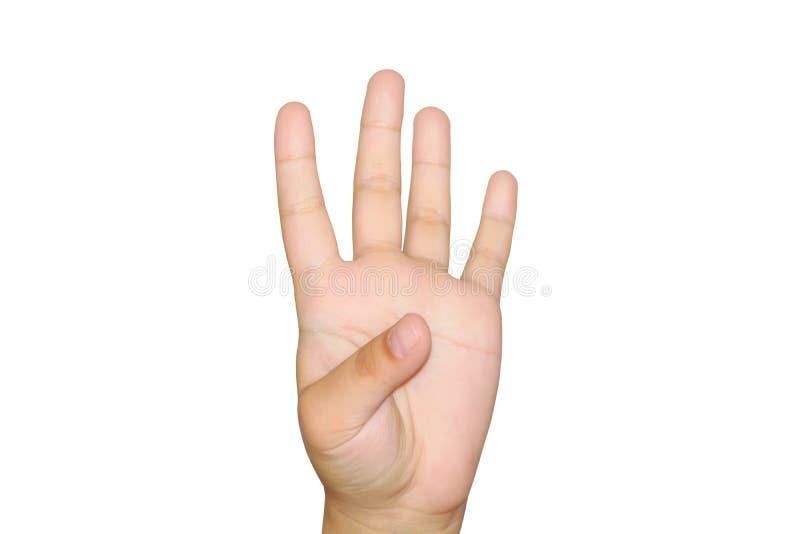 Menina que mostra quatro dedos foto de stock royalty free