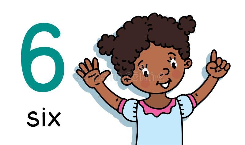 Menina que mostra seis cart?es ? m?o de contagem 6 da educa??o ilustração royalty free
