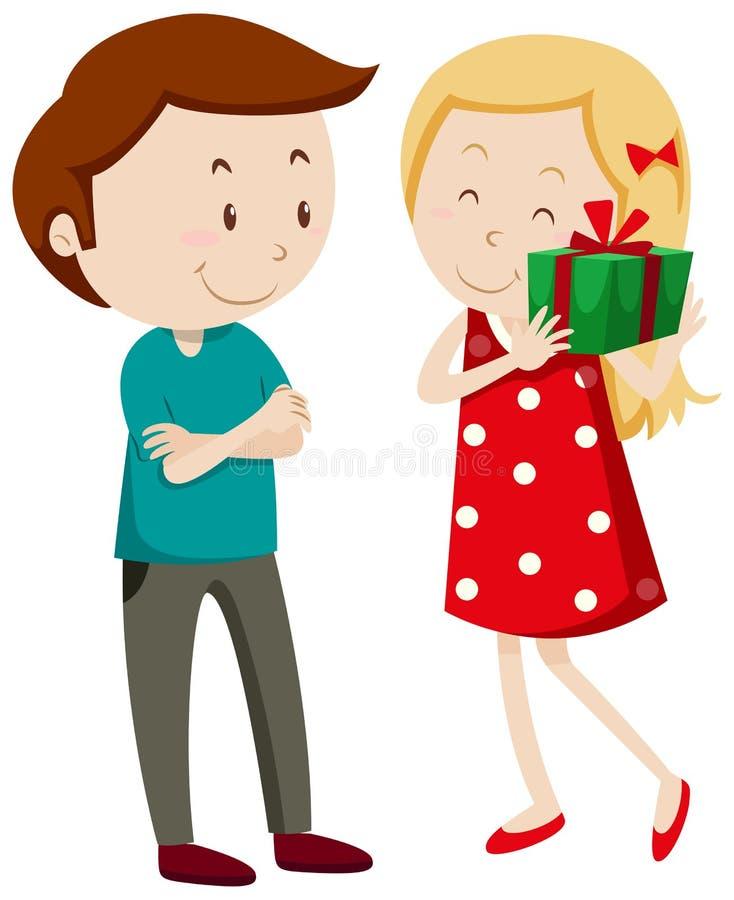 Menina que obtém um presente ilustração royalty free