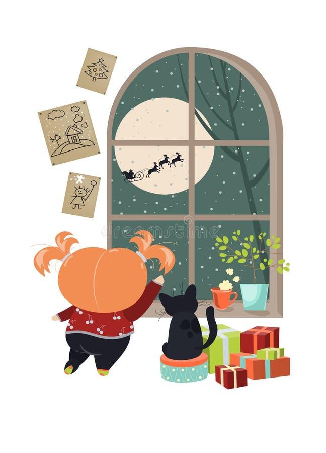 Menina que olha fora da janela atrás de Santa ilustração do vetor