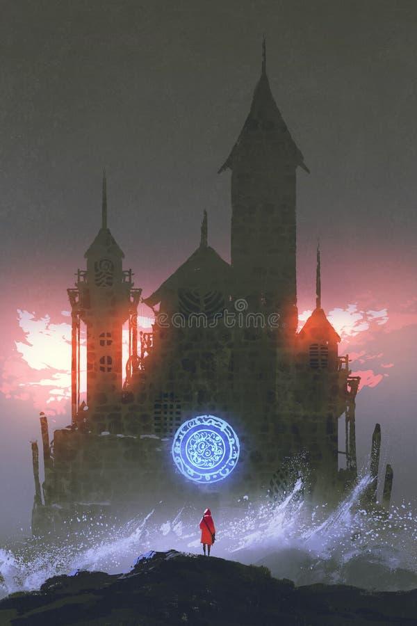 Menina que olha o castelo mágico ilustração do vetor