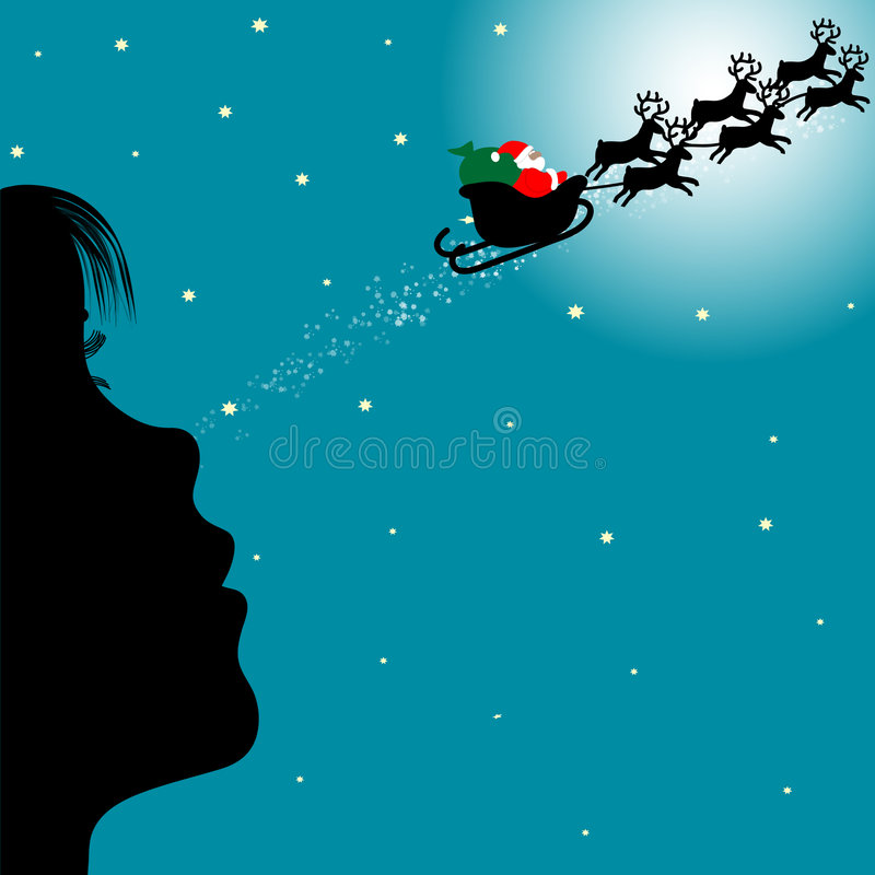 Menina que olha Papai Noel ilustração stock