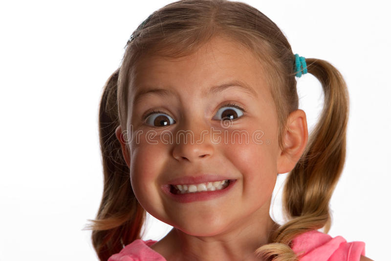 Menina que olha startled fotografia de stock royalty free