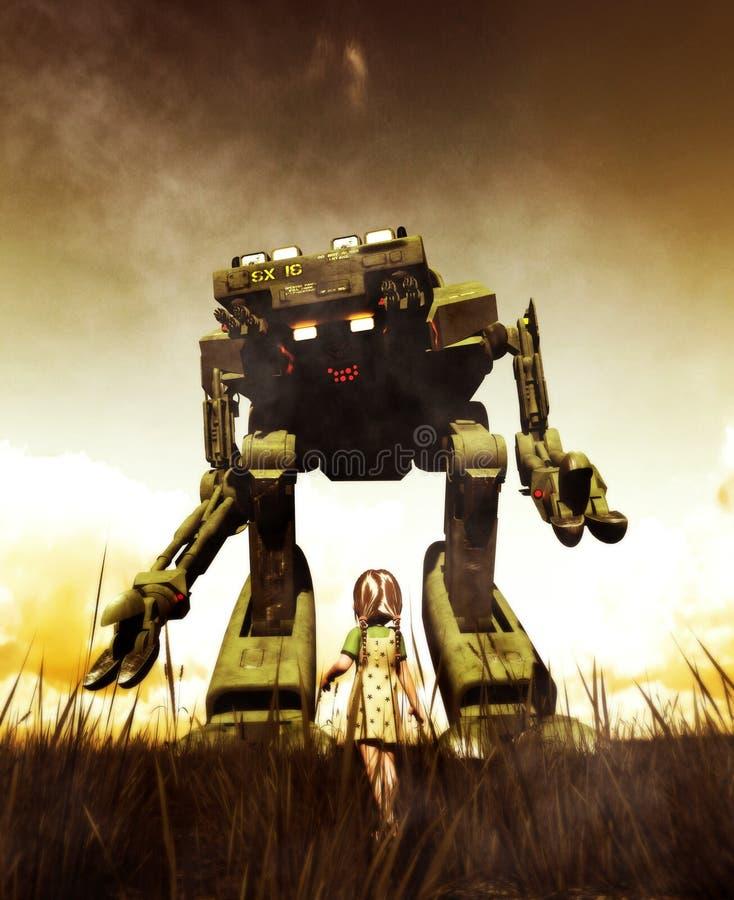 Menina que olha a um robô gigante ilustração do vetor