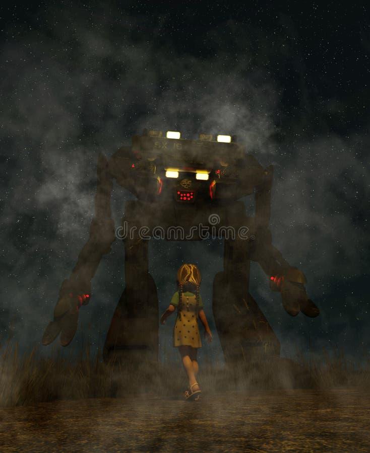 Menina que olha a um robô gigante ilustração stock