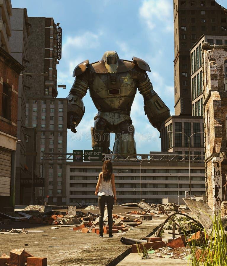 Menina que olha um robô na cidade abandonada ilustração do vetor