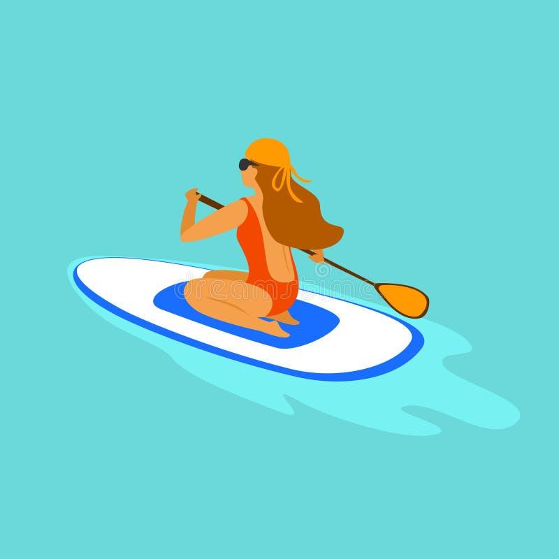 Menina que paddleboarding, remo de assento em uma placa no mar ilustração royalty free