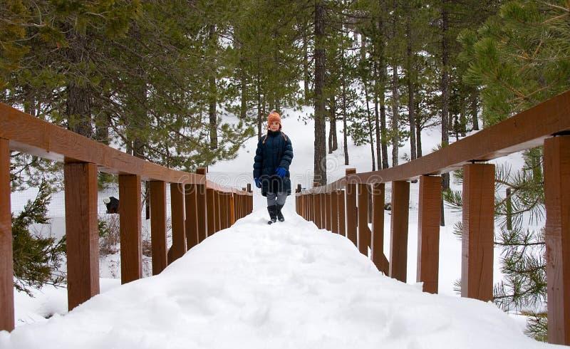 Menina que passa uma ponte de madeira imagens de stock royalty free