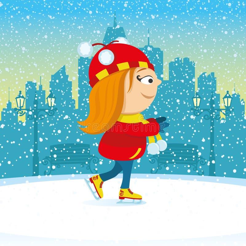 Menina que patina em um parque da cidade ilustração stock