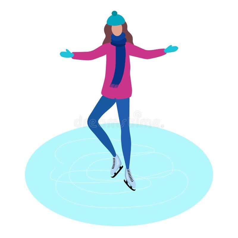 Menina que patina na pista de gelo, ilustração lisa do vetor do projeto, jovem mulher em botas do patim ilustração do vetor