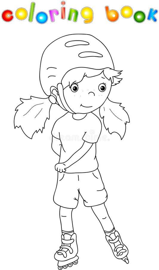 Menina que patina no capacete ilustração do vetor