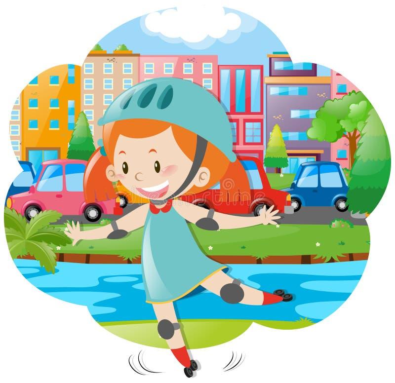 Menina que patina no parque da cidade ilustração stock