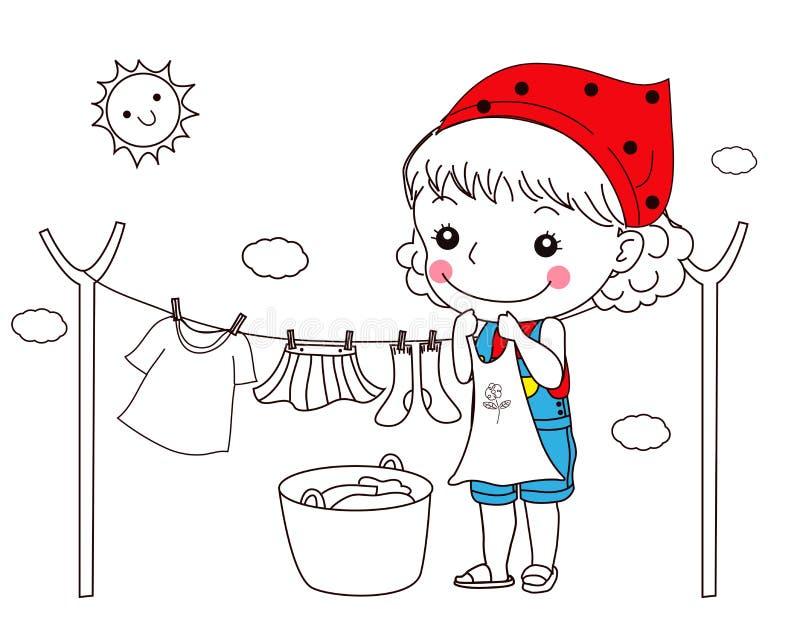 Menina que pendura a roupa para secar ilustração do vetor