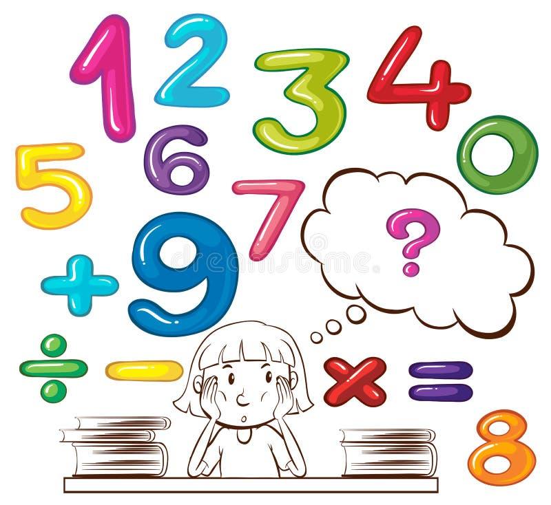 Menina que pensa sobre números ilustração royalty free