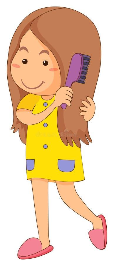 Menina que penteia o cabelo ilustração stock