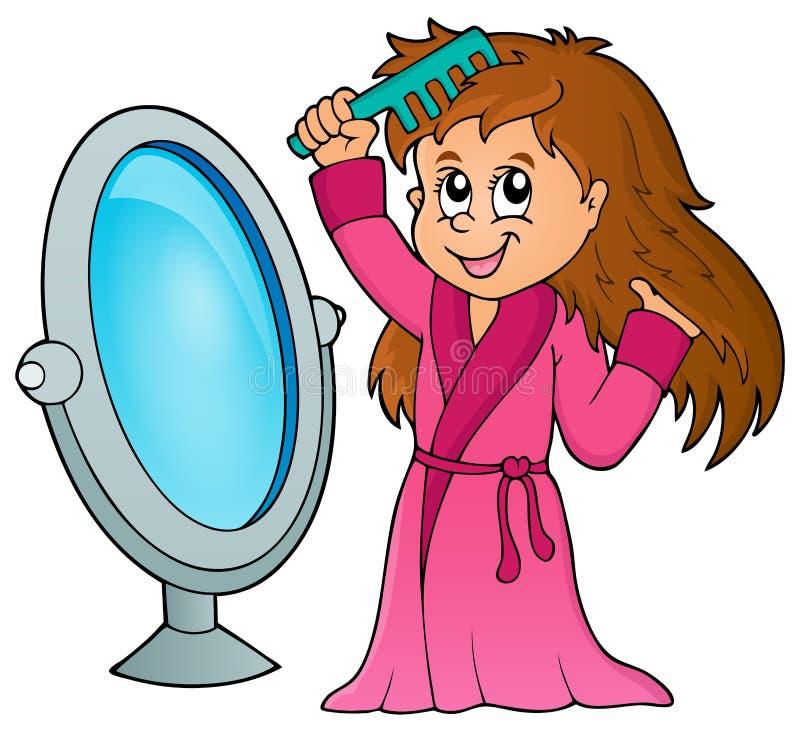 Menina que penteia o tema 1 do cabelo ilustração stock